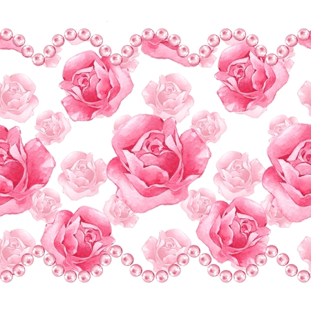 Floral seamless border with pink roses and pearls Stock Photo