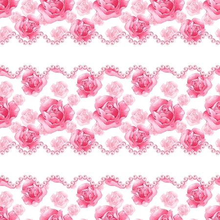 Floral seamless pattern. Watercolor background with pink roses and pearls