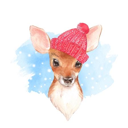 Cute fawn. Watercolor illustration