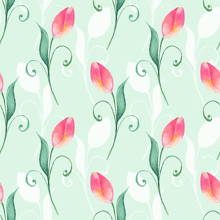 Floral seamless pattern. Watercolor background with red tulips