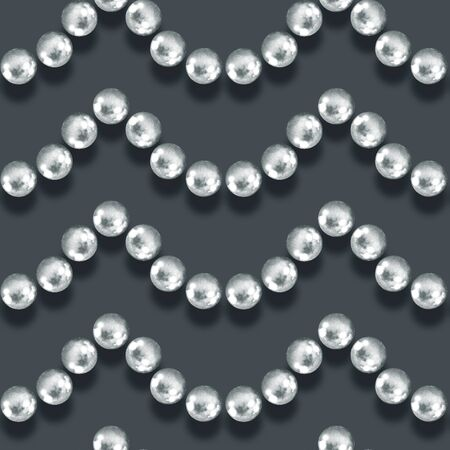 perls: Seamless pattern with pearls. Watercolor illustration Stock Photo
