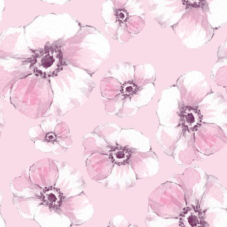Floral seamless pattern. Watercolor background with delicate flowers Stock Photo