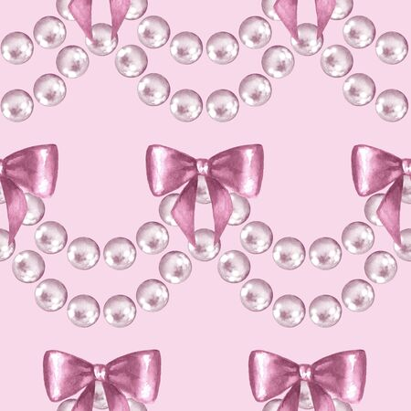 Seamless pattern with pearls. Watercolor illustration Stock Photo