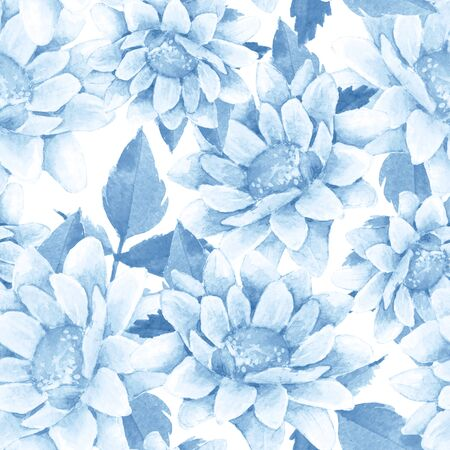 Seamless floral pattern with watercolor chrysanthemums