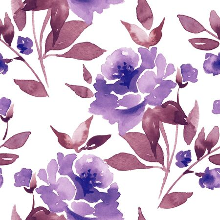 Floral seamless pattern. Watercolor background with flowers