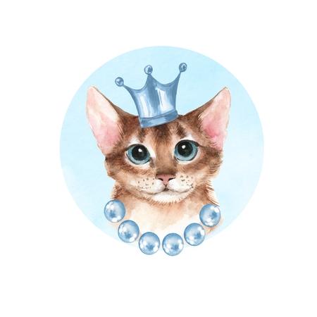 Cat in crown. Watercolor illustration Stockfoto