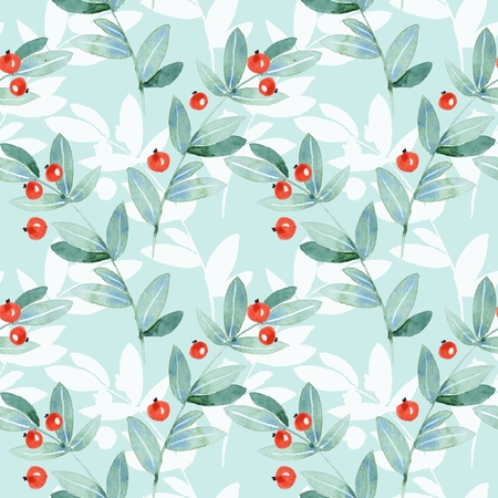 Floral seamless pattern. Watercolor leaves and berries