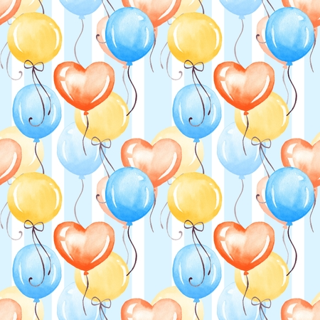 Balloons. Watercolor colorful seamless pattern Stock Photo