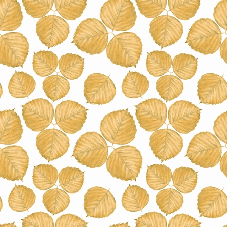 Seamless pattern with yellow watercolor leaves