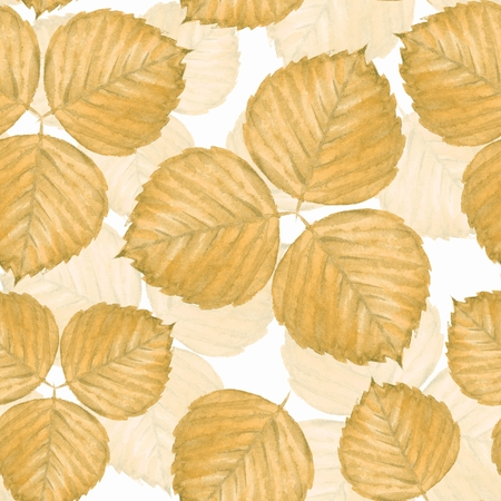 Seamless pattern with watercolor yellow leaves