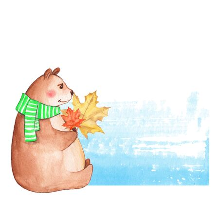 Teddy bear with autumn leaves. Watercolor illustration Stock Photo