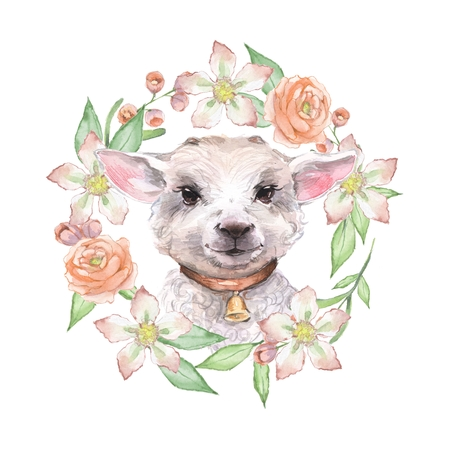Goatling and flowers. Cute watercolor illustration