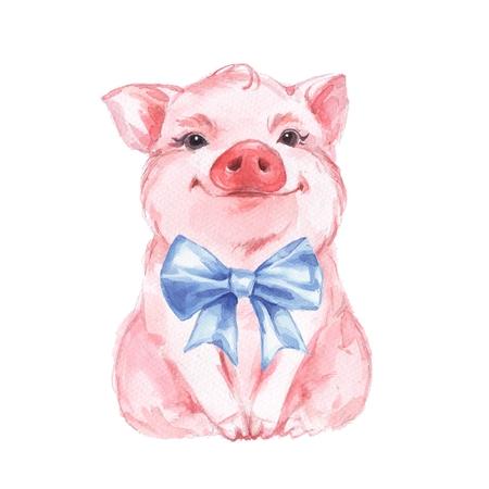Gracioso cerdo y lazo azul. Aislado en blanco