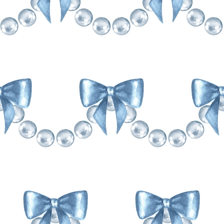Seamless pattern with pearls. Jewelry border with bows
