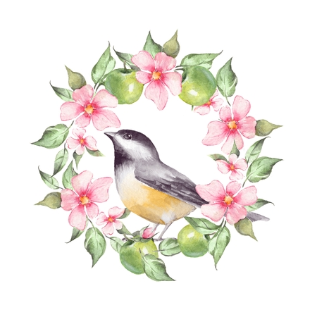 Watercolor floral wreath and bird Stock Photo