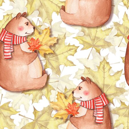 Seamless pattern with leaves and bears. Watercolor