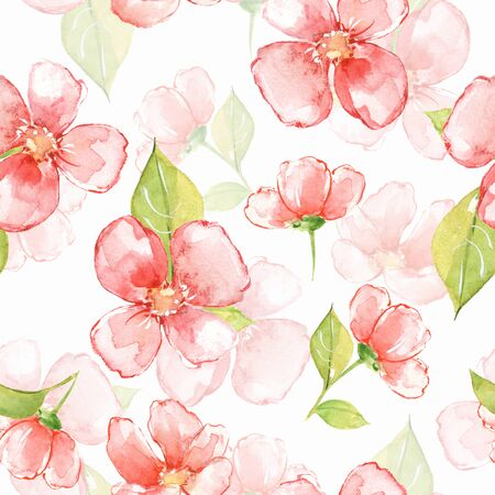 Floral seamless pattern with red flowers 13 Stock Photo