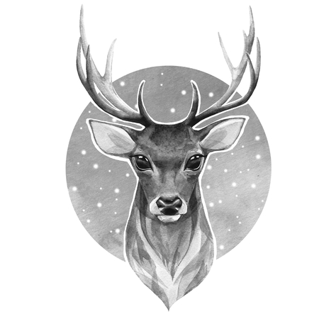 Noble deer. Black and white watercolor illustration Stockfoto