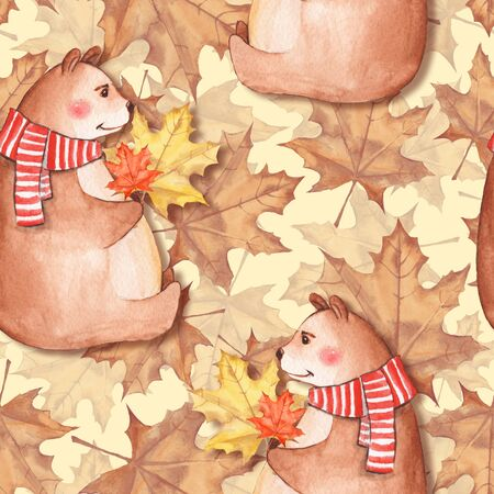 Seamless pattern with leaves and bears 3 Stock Photo