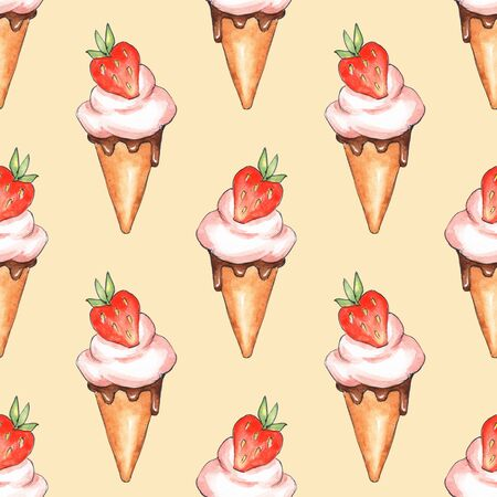 Ice cream and strawberries. Watercolor seamless pattern 2