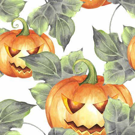 Seamless pattern with pumpkins 3