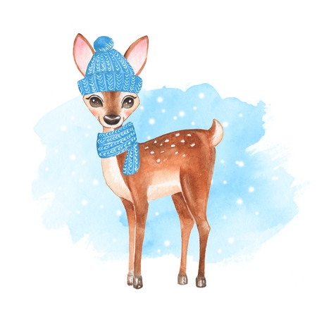 Baby Deer. Knitted cap and scarf. Hand drawn cute fawn