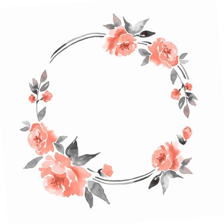 Watercolor floral frame. Element for design 2
