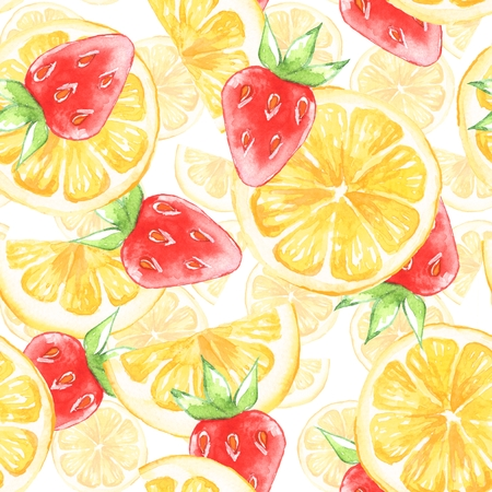 Watercolor seamless pattern with lemon slice 1