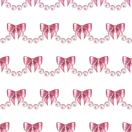 Seamless pattern with pearls 5. Watercolor illustration