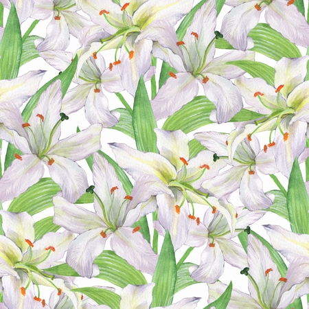 Floral seamless watercolor background with white flowers 1