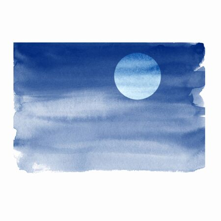 Watercolor night sky with moon, simple illustration Фото со стока
