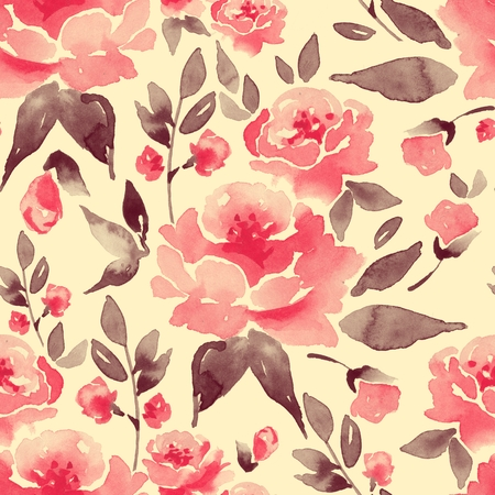 Watercolor seamless pattern with flowers and leaves 9