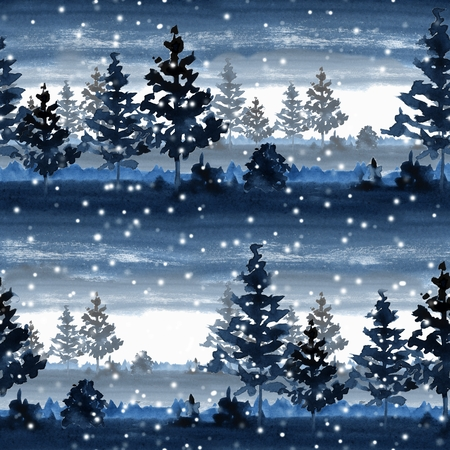 Seamless pattern with winter forest Stock Photo