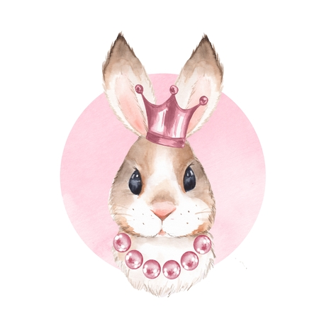 glamorous: Rabbit and crown. Watercolor illustration