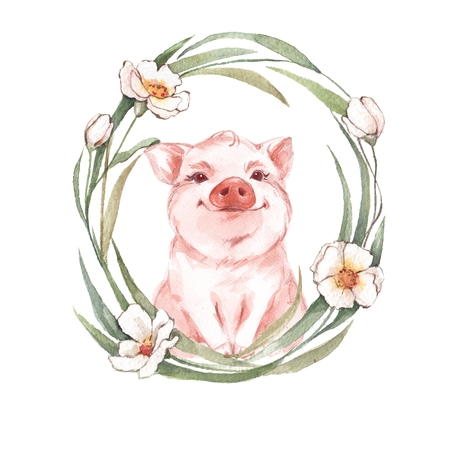 Pig and floral wreath. Watercolor illustration Stock Photo