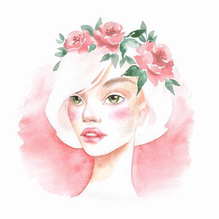 Beautiful girl. Watercolor portrait. Female face
