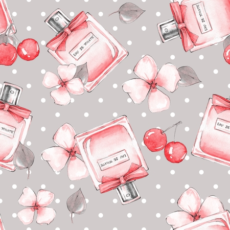 Seamless pattern. Bottle of perfume and flowers