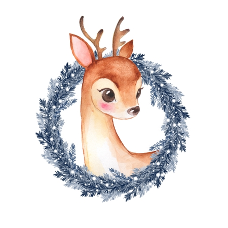 Baby Deer. Cute fawn and Christmas wreath
