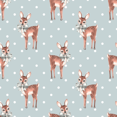 Pattern with Baby Deer. Cute fawns. Seamless background 2