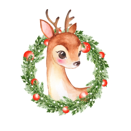 Baby Deer. Cute fawn and Christmas wreath 1 Stock Photo