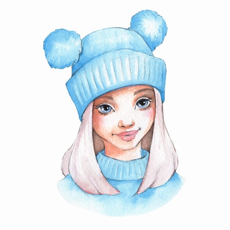 Cute cartoon girl in warm hat. Watercolor Stock Photo