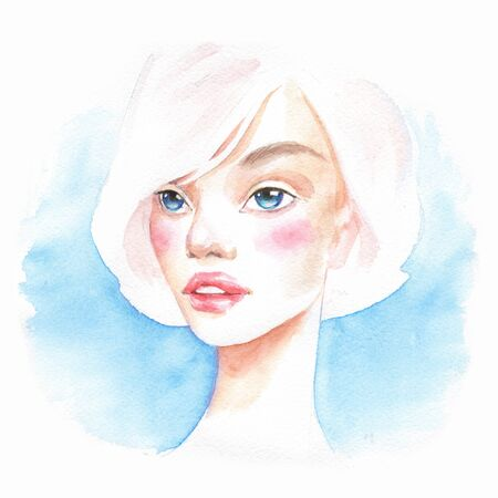 Beautiful girl. Watercolor portrait. Female face 1