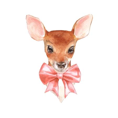 Baby Deer. Hand drawn cute fawn. Watercolor