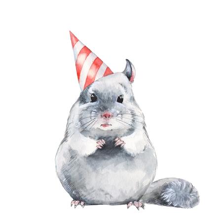 Chinchilla. Cute birthday card. Watercolor illustration