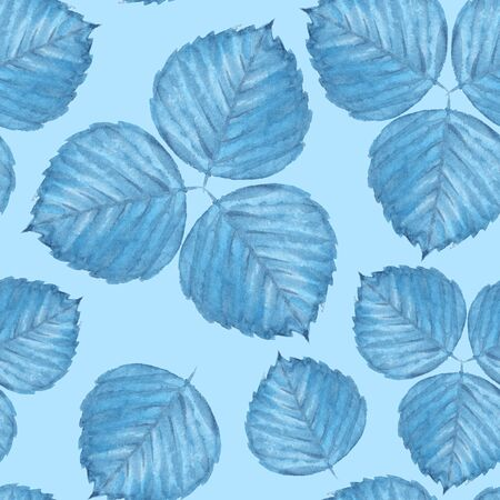 Seamless pattern with watercolor leaves 6