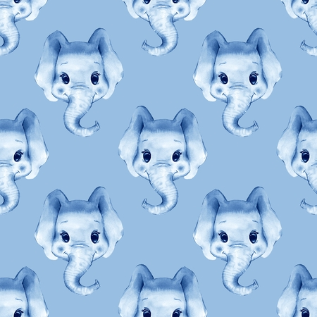 Watercolor elephant. Monochrome seamless pattern