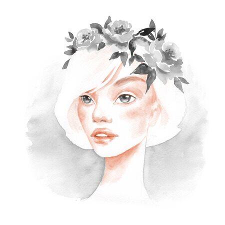 Beautiful girl. Watercolor portrait 3. Female face Stock Photo