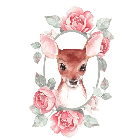 Baby Deer and flowers. Cute fawn. Watercolor