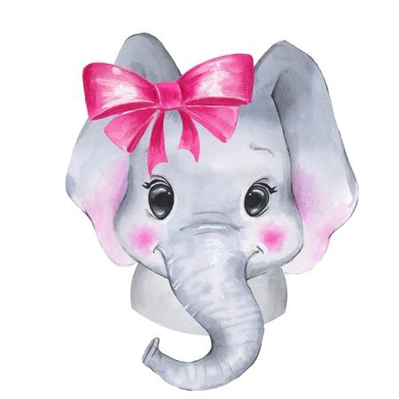 Watercolor elephant. Cute cartoon illustration