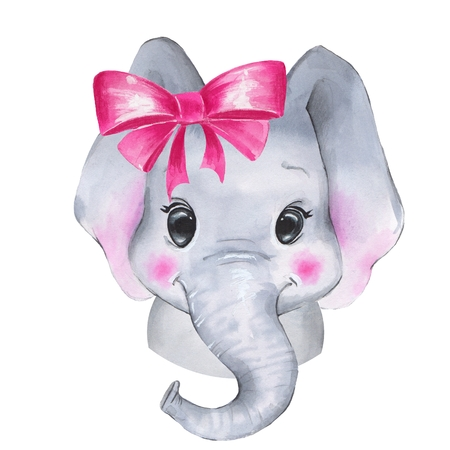 Watercolor elephant. Cute cartoon illustration